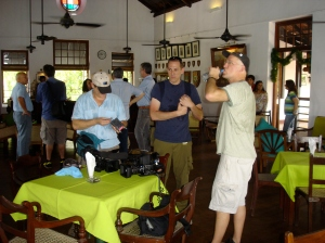 The crew relaxes between shots (of beer that is!)
