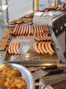 bratwurst and bockwurst on the Reeperbahn in Hamburg