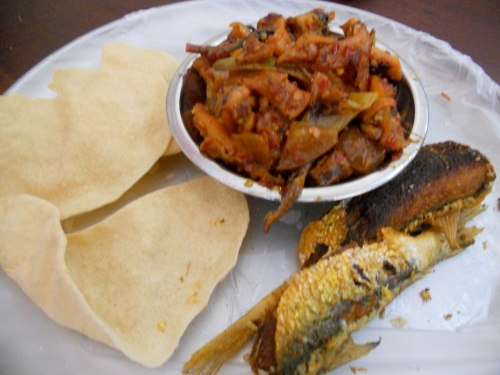 cuttlefish dry fry with papadum and fried sardines