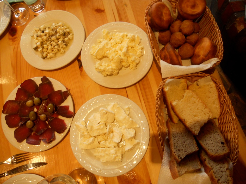 the meal must begin with smoked meats, cheeses, and bread