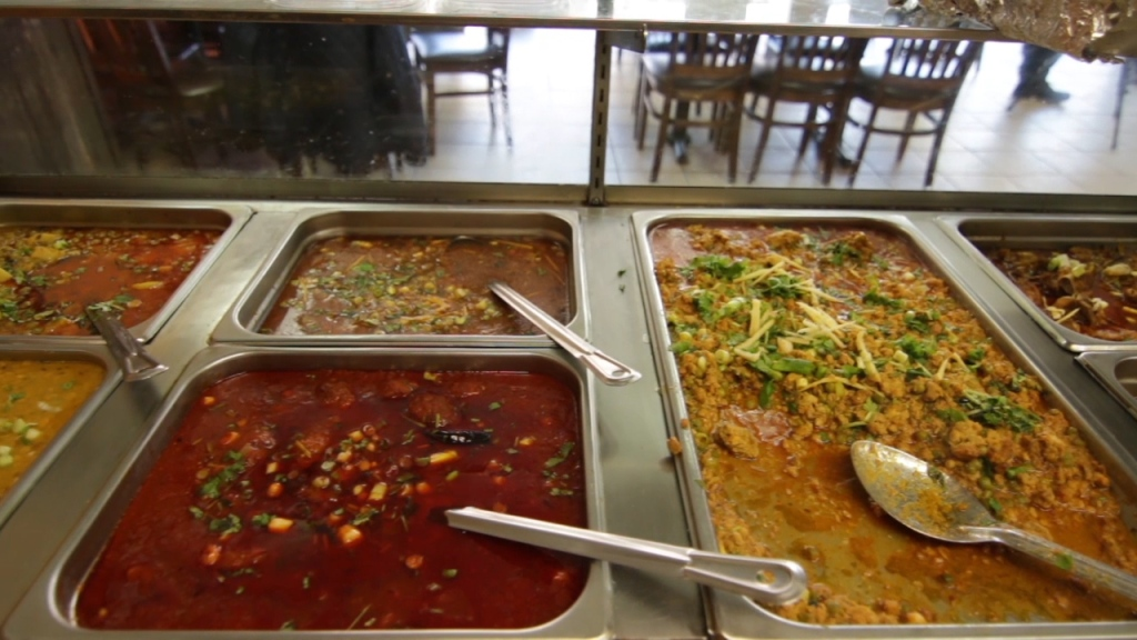 The steam table at Mithaas Restaurant