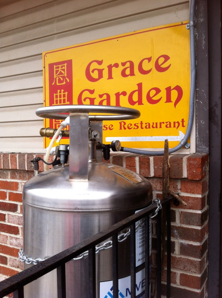 Grace Garden's back door: The metal tank marks the spot